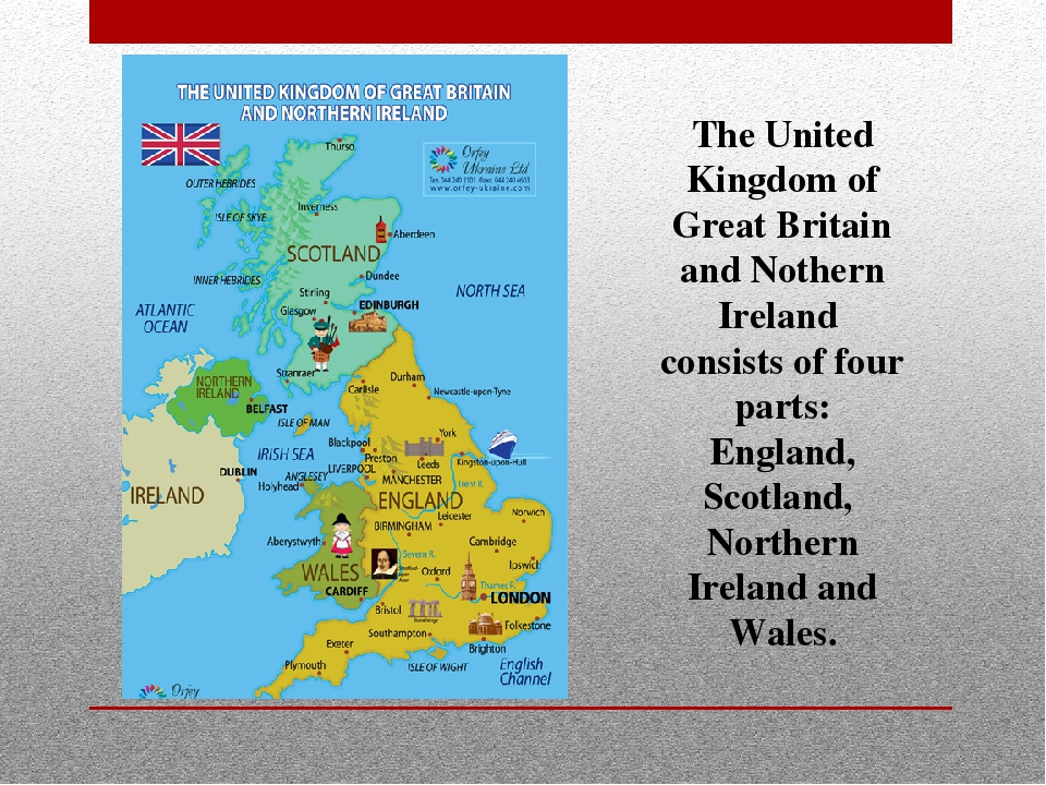 The United Kingdom of Great Britain and Nothern Ireland consists of four part...