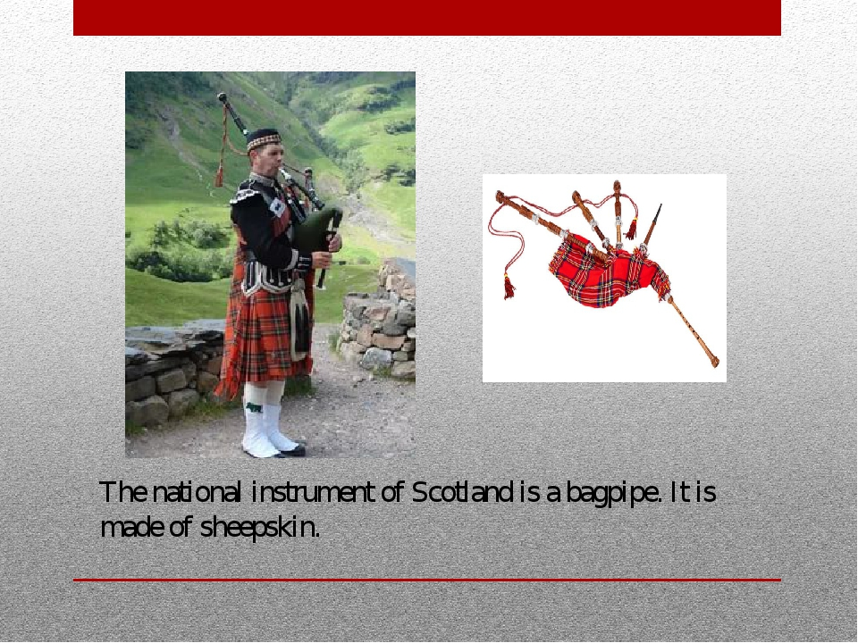 The national instrument of Scotland is a bagpipe. It is made of sheepskin.